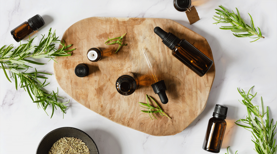 Essential oils and aromatherapy on table at home